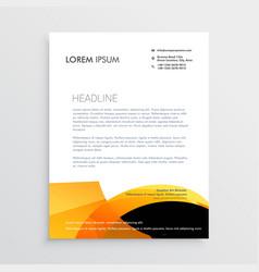 Orange and black modern letterhead design vector