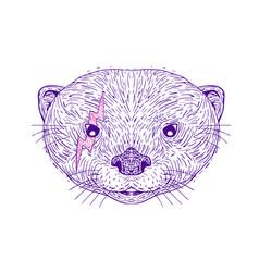 Otter head lightning bolt drawing vector