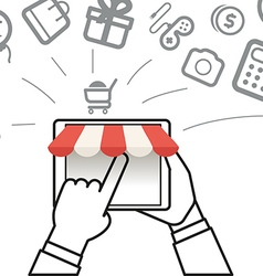 Shopping via internet connection Simple line vector image vector image