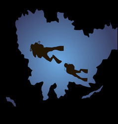 silhouettes of diving diving silhouettes on a vector image