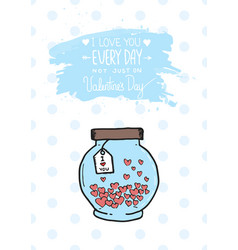 valentines day greeting card with heart jar and vector image vector image