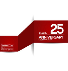 25 years anniversary design with red and white vector