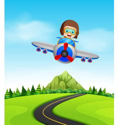 A boy flying a plane vector