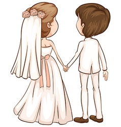 A simple sketch of a newly wed couple vector
