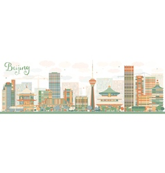 Abstract Beijing Skyline with Color Buildings vector image