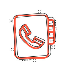 address phone book icon in comic style telephone vector image