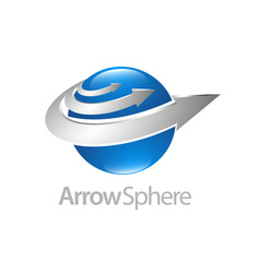 arrow sphere 3d logo concept design symbol vector image