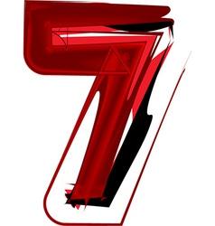 Artistic font number 7 vector image