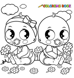 Babies playing outdoors vector