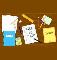 Back to school - table with school equipment book vector