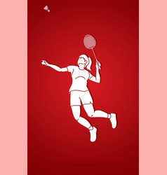 badminton player action cartoon graphic vector image