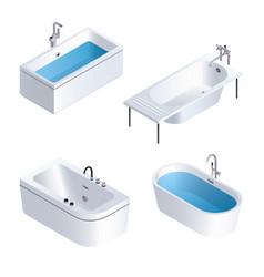 Bathtub icon set isometric style vector