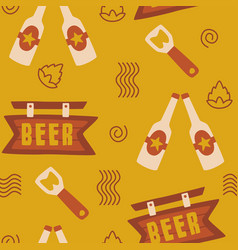 beer seamless pattern background logo icon vector image