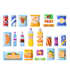 beverages food plastic containers fastfood drinks vector image