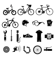 Bicycle bike icons set vector image