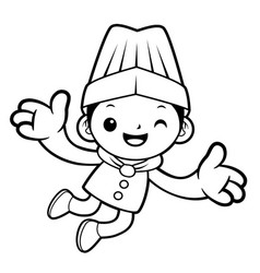 Black and white head cook mascot jumping isolated vector