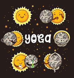 cartoon sun and moon characters doing some yoga vector image