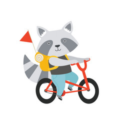 cheerful raccoon riding a bike with a backpack vector image