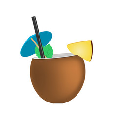 Coconut fresh cocktail pina colada vector