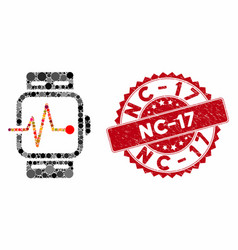 collage medical watches with grunge nc-17 seal vector image