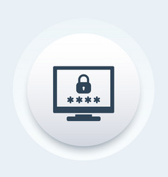 Computer with password access security icon vector