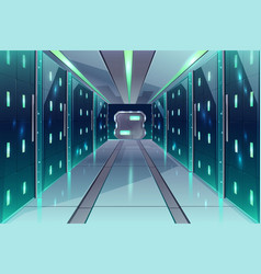 corridor in spaceship server center vector image