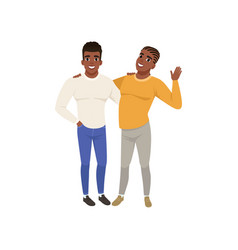 couple of african american young men standing vector image vector image