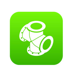 Cross pipe water icon green vector
