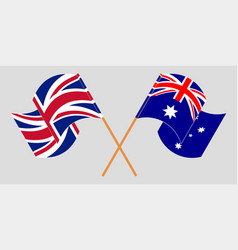Crossed and waving flags australia and uk vector