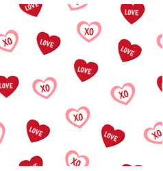 Cute hand drawn hearts seamless pattern love vector