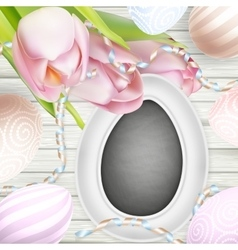 Eggs on wooden table EPS 10 vector image