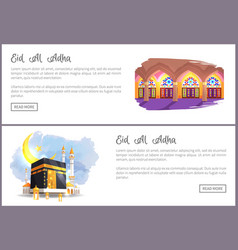 Eid al adha great religious holiday web banners vector