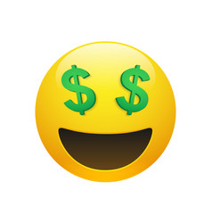 Emoji yellow smiley face with dollar symbol eyes vector
