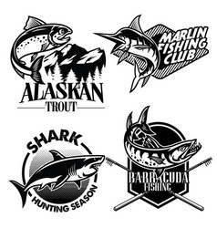 fishing badge design set vector image