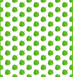 flat green apple pattern on isolated white vector image
