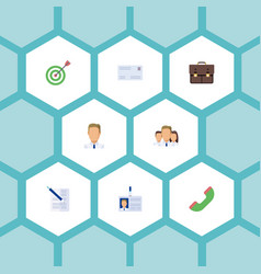 Flat icons id card employee portfolio and other vector