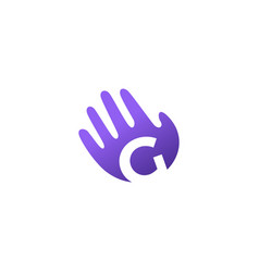 g letter hand palm hello logo icon vector image