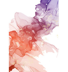Gold abstract watercolor brush liquid isolated on vector