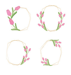 golden pink tulip flower wreath collection eps10 vector image