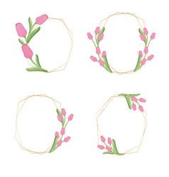golden pink tulip flower wreath collection eps10 vector image