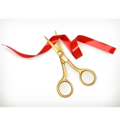 Golden scissors cut the red ribbon vector