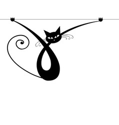 Graceful black cat silhouette for your design vector image
