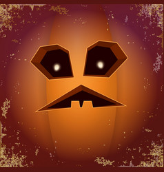 halloween cartoon scary pumpkin with face vector image