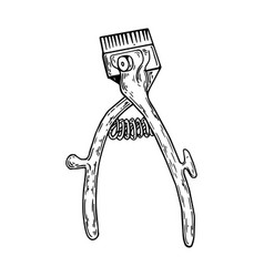 Hand hair clipper engraving vector
