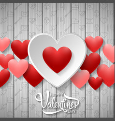 Happy valentines day with white and red heart vector