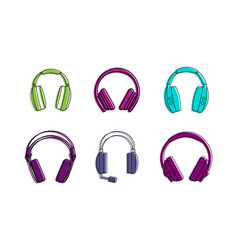 Headsets icon set color outline style vector