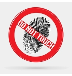 Icon forbidden to leave fingerprints touch vector
