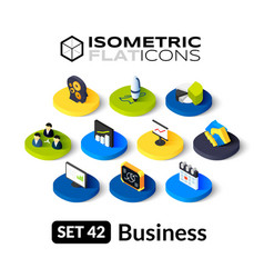 Isometric flat icons set 42 vector