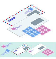 isometric postal envelopes mail envelope vector image