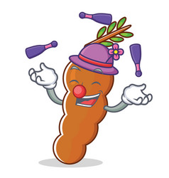 Juggling tamarind mascot cartoon style vector